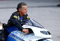 Sep 28, 2013; Madison, IL, USA; NHRA pro stock motorcycle rider Jerry Savoie during qualifying for the Midwest Nationals at Gateway Motorsports Park. Mandatory Credit: Mark J. Rebilas-