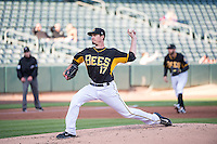 Andrew Heaney (17) of the Salt Lake Bees delivers a pitch to the plate against the Sacramento River Cats in Pacific Coast League action at Smith's Ballpark on April 20, 2015 in Salt Lake City, Utah.  (Stephen Smith/Four Seam Images)