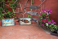 Art Work Displayed in a Senegalese Courtyard, Biannual Arts Festival, Goree Island, Senegal.