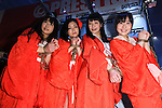 Adult film actresses pose for the cameras during the Japan Adult Expo 2015 on November 17, 2015, Tokyo, Japan. 69 film production companies, novelty goods makers and over a hundred AV actresses will attend the second annual two day expo in Toyosu Pit from November 17 to 18. Organizers aim to give fans the opportunity to meet their idols. (Photo by Rodrigo Reyes Marin/AFLO)