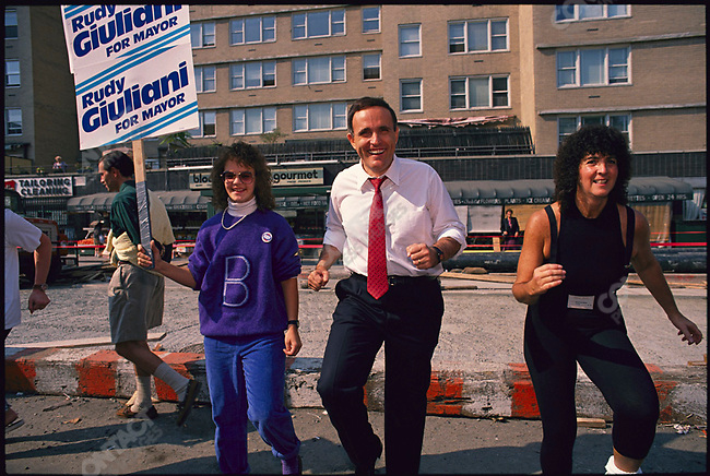 Republican mayoral candidate Rudolph Giuliani, campaigning in Lower Manhattan. New York City, New York, USA,  October 1989.