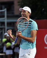 BOGOTA- COLOMBIA 24-07-2015: Ivo Karlovic de Croacia,  celebra la victoria sobre Radek Stepanek de Republica Checa, durante partido del Claro Open Colombia de Tenis en las canchas del Centro de Alto rendimiento en Altura en la ciudad de Bogota.   / Ivo Karlovic of Croatia, celebrates the victory against Radek Stepanek of  Czech Republic during a match to the Claro Open Colombia of Tennis in the courts of the High Performance Center in Altura in Bobota City. Photo: VizzorImage / Luis Ramirez / Staff.