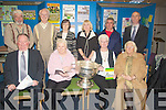 MEMORY'S: Looking over some of the memories at the GAA  Echibition for the past 125 years in the Kerry County Library on Tuesday night, Front l-r: Jerome Conway (Chairman of KCB), Peggy Hegarty, Kitty Enright and Tina Wall. Back l-r: Johnny Wall, Mike and Aileen McCarthy, Lonie and Paddy Moriarty and Tom O'Connor(Kerry County Librian).