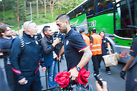 The USA's Clint Dempsey arrives before the United States played Guatemala at Estadio Mateo Flores in Guatemala City, Guatemala in a World Cup Qualifier on Tue. June 12, 2012.