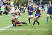 10th September 2017, Sixways Stadium, Worcester, England; Aviva Premiership Rugby, Worcester Warriors versus Wasps; Marcus Watson of Wasps heading for Wasps 1st try