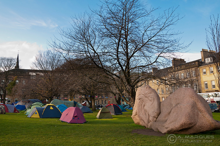Tents of the activists camped on the Occupy Edinburgh camp, St Andrew's Square, Edinburgh.