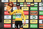 Race leader Maximilian Schachmann (GER) Bora-Hansgrohe retains the Yellow Jersey on the podium at the end of Stage 4 of the 78th edition of Paris-Nice 2020, and individual time trial running 15.1km around Saint-Amand-Montrond, France. 11th March 2020.<br /> Picture: ASO/Fabien Boukla | Cyclefile<br /> All photos usage must carry mandatory copyright credit (© Cyclefile | ASO/Fabien Boukla)