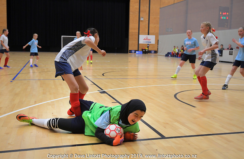 Girls' futsal final between Diocesan School For Girls and Farm Cove Intermediate on Day six of the 2019 AIMS games at Baypark in Mount Maunganui, New Zealand on Friday, 13 September 2019. Photo: Dave Lintott / lintottphoto.co.nz