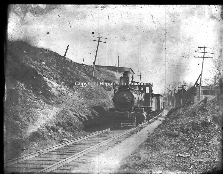 Frederick Stone negative. RR NY and NE train above West Main Stree 1889 OR 1894.<br />See envelope to distinguish.