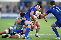 Max Deegan of Leinster Rugby is tackled in possession. Pre-season friendly match, between Leinster Rugby and Bath Rugby on August 25, 2017 at Donnybrook Stadium in Dublin, Republic of Ireland. Photo by: Patrick Khachfe / Onside Images