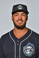Asheville Tourists pitcher Justin Lawrence (27) poses for a photo at Story Point Media on April 4, 2017 in Asheville, North Carolina. (Tony Farlow/Four Seam Images)