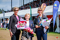Dressage NZ Patron, Pam Gilmour, is presented with flowers and celebrations for her  contribution over the years. 2018 NZL-Horse of the Year Show. Hastings. Sunday 18 March. Copyright Photo: Libby Law Photography