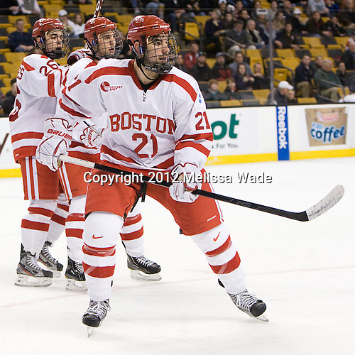 (Rodrigues, Clendening) Sean Escobedo (BU - 21) - The Boston University Terriers defeated the Harvard University Crimson 3-1 in the opening round of the 2012 Beanpot on Monday, February 6, 2012, at TD Garden in Boston, Massachusetts.