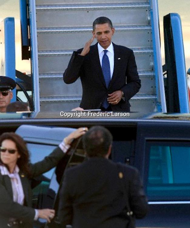 U.S President Barack Obama arrives on Air Force One at SFO, in San Francisco, Calif., on October 15, 2009.