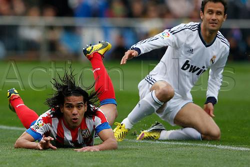27.04.2013. Madrid, Spain.  La Liga football  Atletico de Madrid vs Real Madrid CF (1-2) at Vicente Calderon stadium. The picture shows Radamel Falcao Garcia (Colombian striker of At. Madrid)