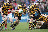 R.B.A.I. flanker Jamie Lusk has Mark McDowell in support during the Northern Bank Schools Cup Final at Ravenhill. Result Wallace 0pts R.B.A.I. 15pts.