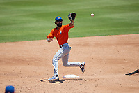 St. Lucie Mets shortstop Manny Rodriguez (13) stretches for a throw during a Florida State League game against the Bradenton Marauders on July 28, 2019 at LECOM Park in Bradenton, Florida.  Bradenton defeated St. Lucie 7-3.  (Mike Janes/Four Seam Images)
