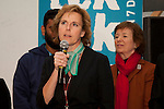 Connie Hedegaard speaks at a meeting of civil society and the UNFCCC. Civil Society handed over a sail that signified the co-operation that civil society has worked on throughout the year for a real deal in Copenhagen. (Images free for Editorial Web usage for Fresh Air Participants during COP 15. Credit: Robert vanWaarden)