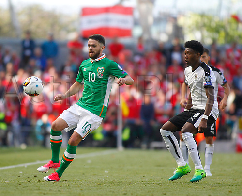 June 11th 2017, Dublin, Republic Ireland; 2018 World Cup qualifier, Republic of Ireland versus Austria; Robbie Brady (Republic of Ireland) gets to the ball ahead of David Alaba (Austria)