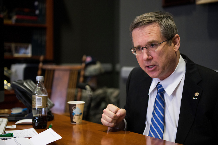 UNITED STATES - NOVEMBER 13: Sen. Mark Kirk, R-Ill., speaks with Roll Call at his desk in the Hart Senate Office Building on Thursday, Nov. 13, 2014. (Photo By Bill Clark/CQ Roll Call)