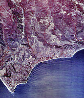 historical infrared aerial photograph of Malibu, California, 1990