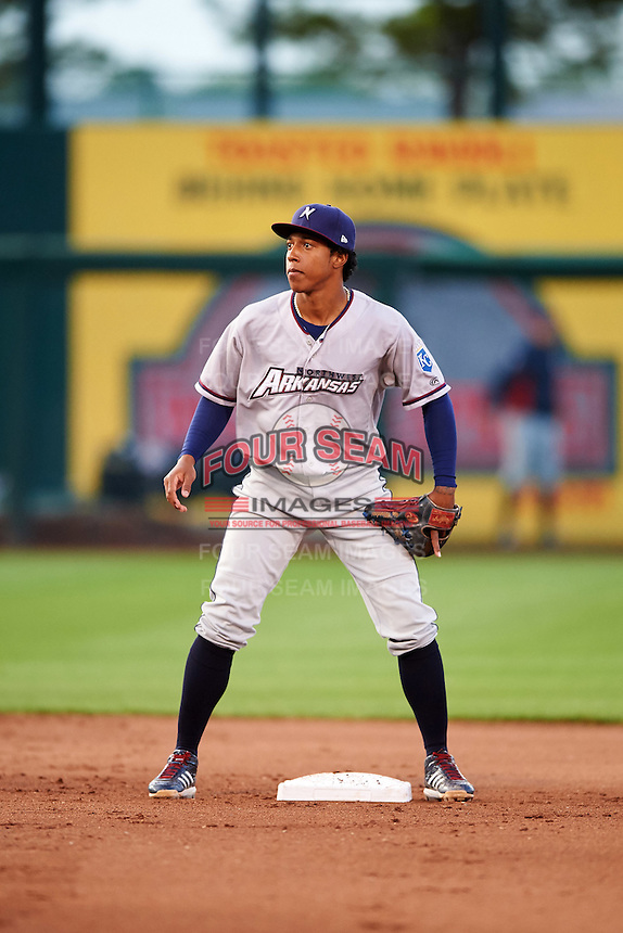 Northwest Arkansas Naturals second baseman Raul Mondesi (27) waits for a throw during warmups in between innings during a game against the Springfield Cardinals on April 26, 2016 at Hammons Field in Springfield, Missouri.  Northwest Arkansas defeated Springfield 5-2.  (Mike Janes/Four Seam Images)