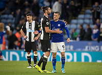 Jamie Vardy of Leicester City & Andy Carroll of Newcastle United at full time during the Premier League match between Leicester City and Newcastle United at the King Power Stadium, Leicester, England on 29 September 2019. Photo by Andy Rowland.