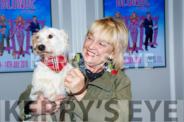 Sheila Charlesworth Ballyhar with her dog David at the Legally Blonde auditions in the INEC on Saturday