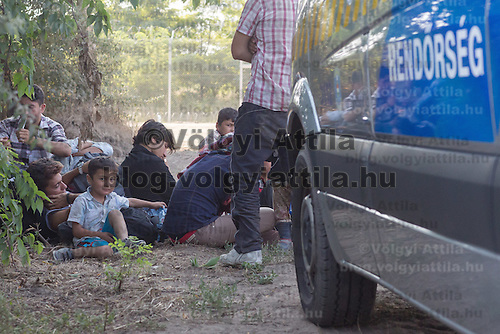 Illegal migrants are under police custody in front of a sample section of the border fence near Morahalom (about 190 km South of capital city Budapest), Hungary on August 13, 2015. ATTILA VOLGYI