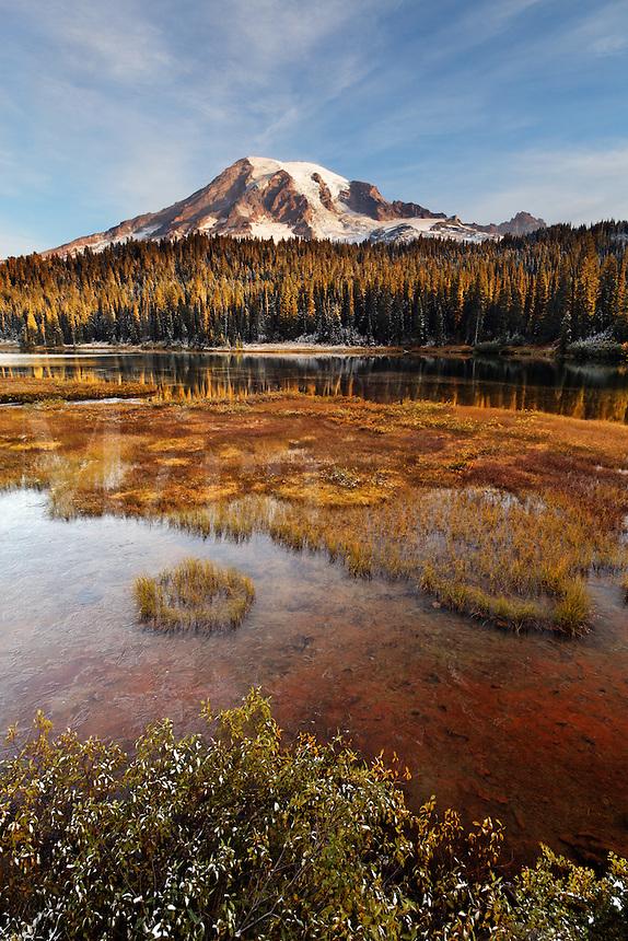 Mount Rainier reflected in Reflection Lakes, Mount Rainier National Park, Washington, USA