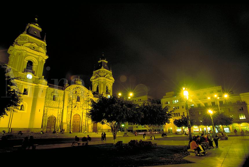 South America ; travel ; Cathedral ; Plaza de Armas ; night. Lima, Peru.