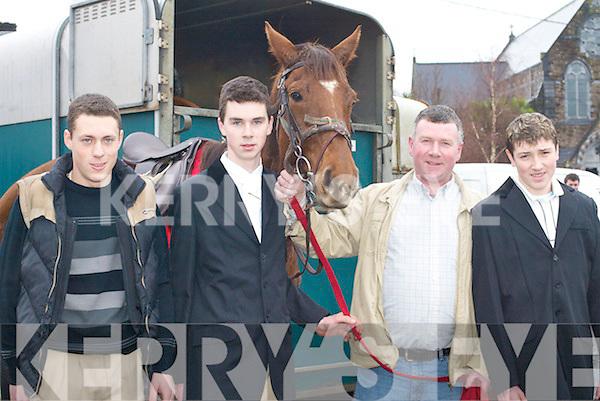HUNT: Donal Foley (Killarney), James Sweeney, Anthony Sweeney and Kian Sheehan (Killorglin) at the hunt in Killorglin, on Sunday.   Copyright Kerry's Eye 2008