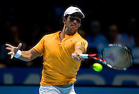 Fernando Verdasco (ESP) against Roger Federer (SUI)  in the Group A match of the Barclays ATP World Tour Finals. Federer beat Verdasco 4-6 7-5 6-1 ..International Tennis - Barclays ATP World Tour Finals - O2 Arena - London - Day 1 - Sun 22 Nov 2009..© Frey - AMN IMAGES, Level 1 Barry House, 20-22 Worple Road, London, SW19 4DH - +44 20 8947 0100