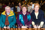 John Murphy, Patricia Murphy, Theresa Murphy enjoying Kerry Choral Union with  Junior Choir at a  St Patrick's Weekend concert in aid of Recovery Haven, Kerry Cancer Support House at St. Brendan's Church Tralee on Sunday
