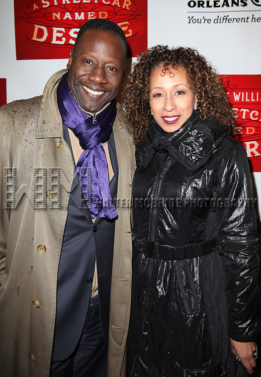 Gregory Generet and Tamara Tunie.attending the Broadway Opening Night Performance of 'A Streetcar Named Desire' at the Broadhurst Theatre on 4/22/2012 in New York City.