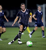 Abby Wambach (20) of the Washington Freedom passes the ball into the box during the game at the Maryland SoccerPlex in Boyds, Maryland.  The Washington Freedom defeated the Philadelphia Independence, 2-0.