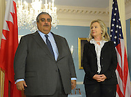 October 26, 2011  (Washington, DC)  U.S. Secretary of State Hillary  Clinton held a bilateral meeting with the Foreign Minister of Bahrain, Shaikh Khalid bin Ahmed al-Khalifa (Photo by Don Baxter/Media Images International)