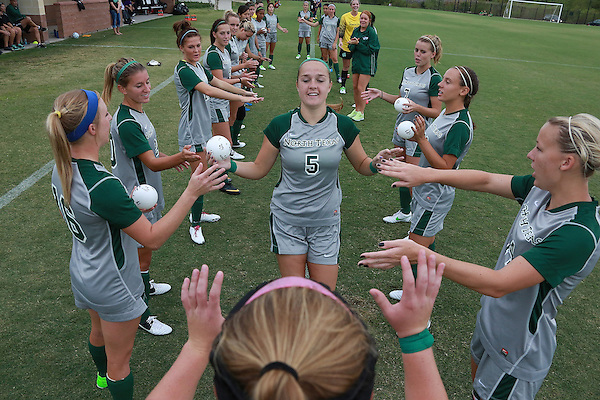 Denton, TX - SEPTEMBER 16: Jackie Moreau #5 takes the field during introductions prior to the match against the Texas Christian University Horned Frogs at the Mean Green Village Soccer Field University in Denton on September 16, 2012 in Denton, Texas. (Photo by Rick Yeatts)