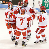 Evan Rodrigues (BU - 17), Cason Hohmann (BU - 7), Wade Megan (BU - 18), Garrett Noonan (BU - 13), Ryan Ruikka (BU - 2) - The Boston University Terriers defeated the visiting Providence College Friars 4-2 (EN) on Saturday, December 13, 2012, at Agganis Arena in Boston, Massachusetts.