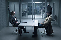 Gabriella Grane (Synnove Macody Lund) interrogating Ed Needham (Lakeith Stanfield) at Arlanda airport in The Girl in the Spider's Web (2018) <br /> *Filmstill - Editorial Use Only*<br /> CAP/RFS<br /> Image supplied by Capital Pictures