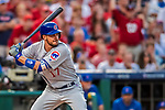7 October 2017: Chicago Cubs third baseman Kris Bryant at bat against the Washington Nationals at Nationals Park in Washington, DC. The Nationals defeated the Cubs 6-3 and even their best of five Postseason series at one game apiece. Mandatory Credit: Ed Wolfstein Photo *** RAW (NEF) Image File Available ***