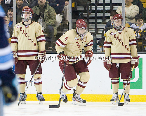 Tommy Cross (BC - 4) is announced as a starter for the Eagles. - The Boston College Eagles defeated the University of Maine Black Bears 4-1 to win the 2012 Hockey East championship on Saturday, March 17, 2012, at TD Garden in Boston, Massachusetts.