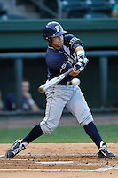 Second baseman Matt Johnson (5) of the University of Pittsburgh Panthers bats in a game against the Presbyterian Blue Hose on Tuesday, March 11, 2014, at Fluor Field at the West End in Greenville, South Carolina. Pitt won, 12-3. (Tom Priddy/Four Seam Images)
