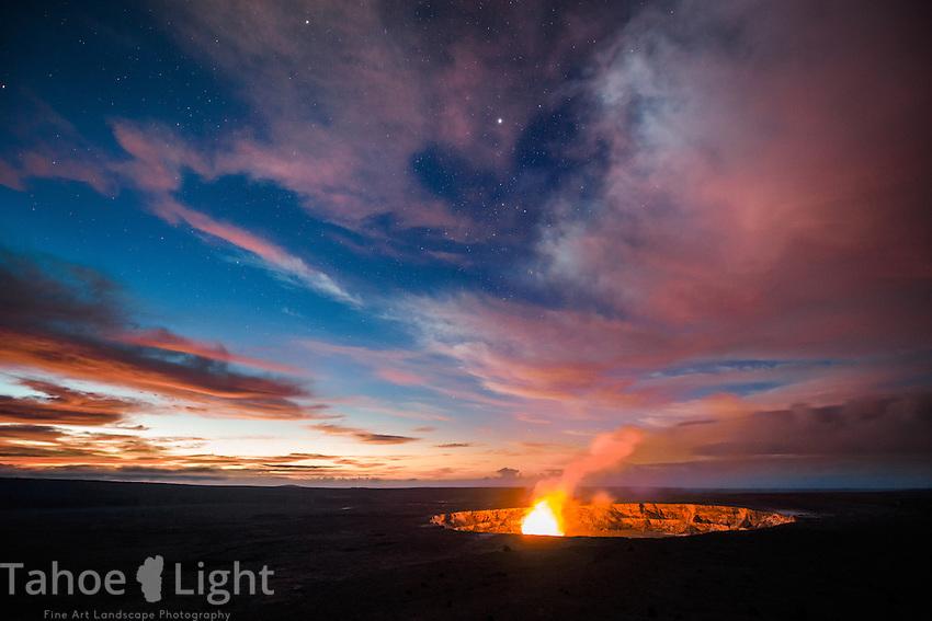 Hawaii vacation on big isle September - oct 2013 Sunrise and milky way galaxy over Kilauea caldera and Halema'uma'u Crater in volcanoes national park, Hawaii.