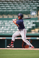 GCL Twins third baseman Charles Mack (9) follows through on a swing during the first game of a doubleheader against the GCL Orioles on August 1, 2018 at CenturyLink Sports Complex Fields in Fort Myers, Florida.  GCL Twins defeated GCL Orioles 7-6 in the completion of a suspended game originally started on July 31st, 2018.  (Mike Janes/Four Seam Images)