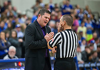 Brad Stamps, Fayetteville head coach, talks to a referee Friday, Feb. 7, 2020, vs Rogers at King Arena in Rogers. Go to nwaonline.com/prepbball/ to see more photos.<br /> (NWA Democrat-Gazette/Ben Goff)