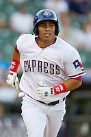 Round Rock Express outfielder Leonys Martin #27 runs to first base during the Pacific Coast League baseball game against the Tucson Padres on August 4th, 2012 at the Dell Diamond in Round Rock, Texas. The Padres defeated the Express 10-6. (Andrew Woolley/Four Seam Images).