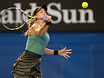 Eugenie Bouchard (CAN) defeats Casey Dellacqua (AUS)  at the Australian Open in Melbourne, Australia on January 20, 2014 Bouchard won, 6-7, 6-2, 6-0