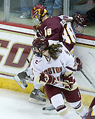 Allie Thunstrom (BC - 9), Jaime Rasmussen (Minnesota-Duluth - 88), Kristina Brown (BC - 2) - The University of Minnesota-Duluth Bulldogs defeated the Boston College Eagles 3-0 on Friday, November 27, 2009, at Conte Forum in Chestnut Hill, Massachusetts.
