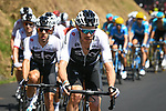 The peloton led by Luke Rowe (WAL) and Team Sky in action during Stage 11 of the 2018 Tour de France running 108.5km from Albertville to La Rosiere Espace San Bernardo, France. 18th July 2018. <br /> Picture: ASO/Pauline Ballet | Cyclefile<br /> All photos usage must carry mandatory copyright credit (&copy; Cyclefile | ASO/Pauline Ballet)